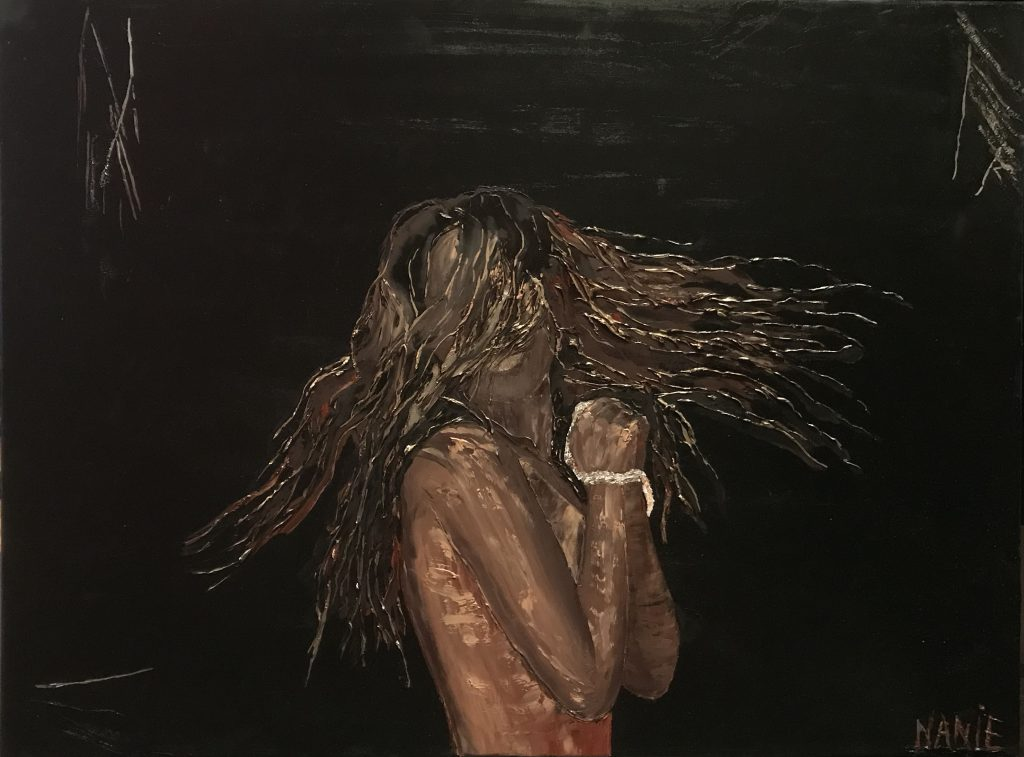 femme poignets liés tableau huile