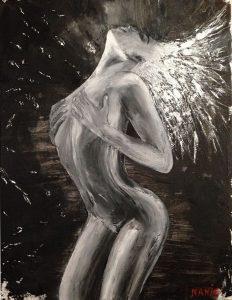 peinture à l'huile femme en mouvement