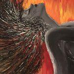 femme enflammée cheveux en arrière enflammee