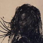 gros plan visage de femme peinture à l'huile