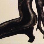 gros plan de femme à genoux