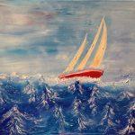 bateau sur mer agitée peinture à l'huile