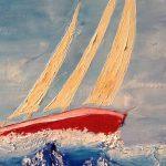 gros plan bateau sur mer agitée