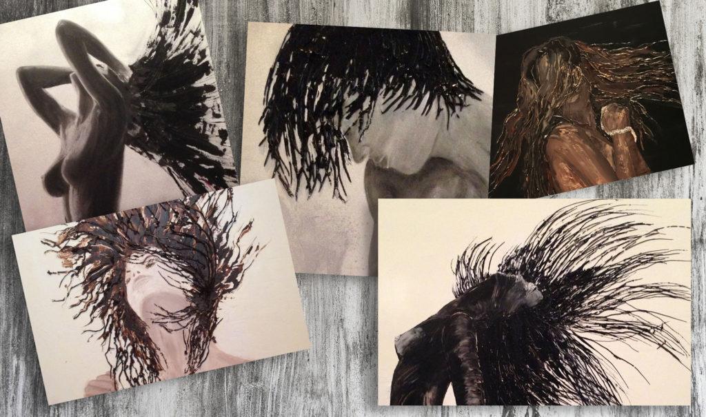 gros plan de cheveux en peinture